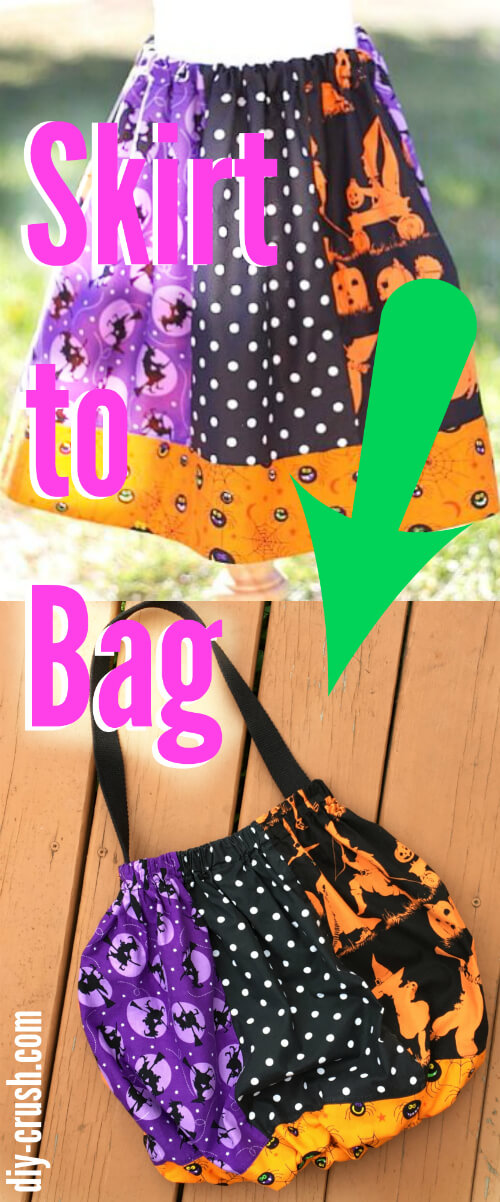 Tutorial: Trick or treat bag made from a skirt