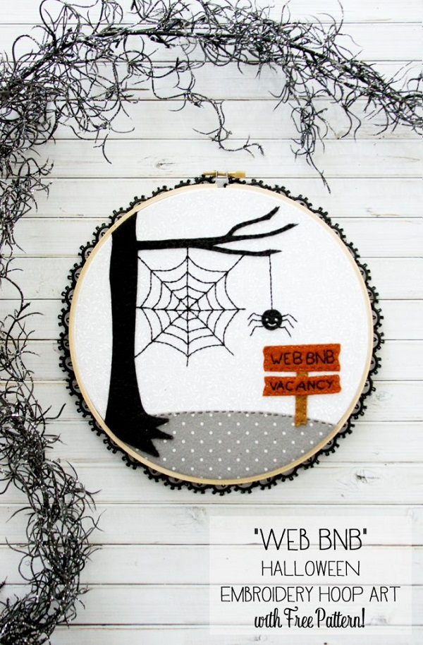 Tutorial and pattern: Web BnB Halloween spider hoop art