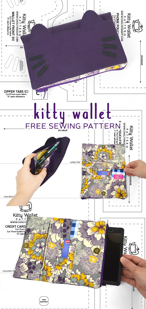 Tutorial and pattern: Kitty wallet
