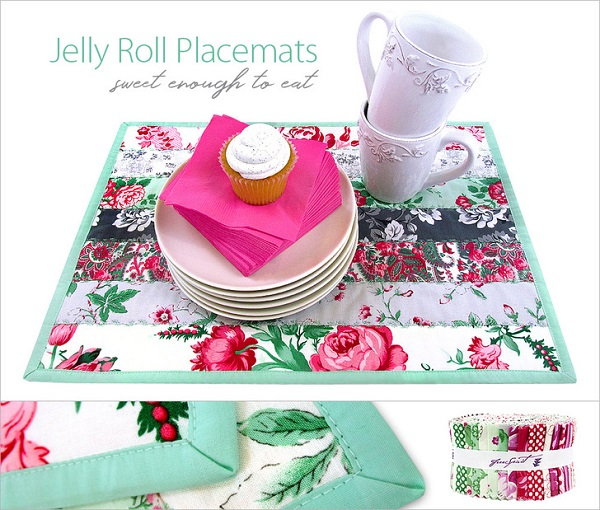 Tutorial: Jelly roll strip pieced placemats