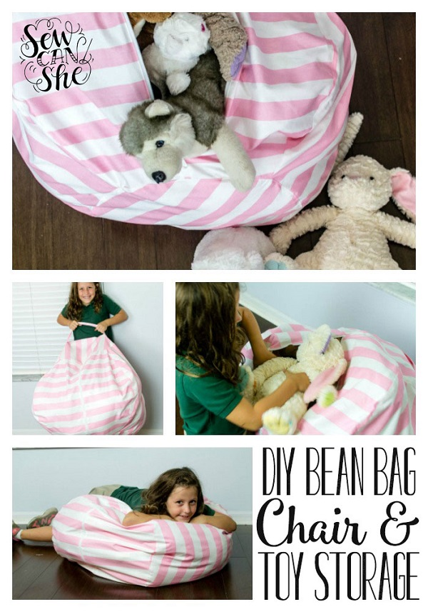 tutorial bean bag chair with stuffed animal storage sewing. Black Bedroom Furniture Sets. Home Design Ideas