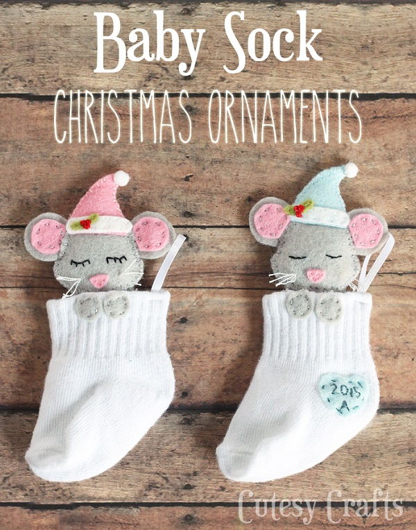 Tutorial and pattern: Baby sock keepsake Christmas ornament
