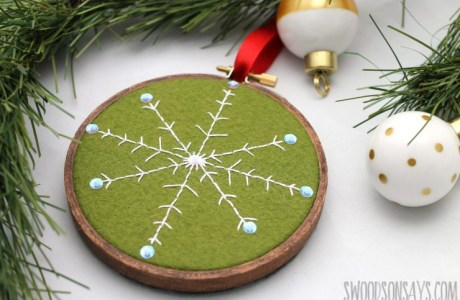 Tutorial and pattern: Stitched snowflake embroidery hoop ornament