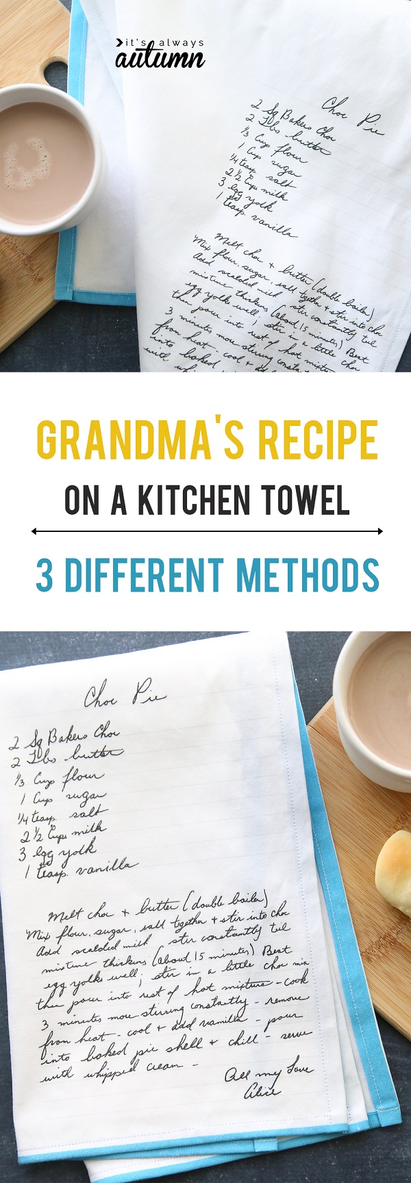 Tutorial: 3 ways to put a handwritten recipe on a tea towel