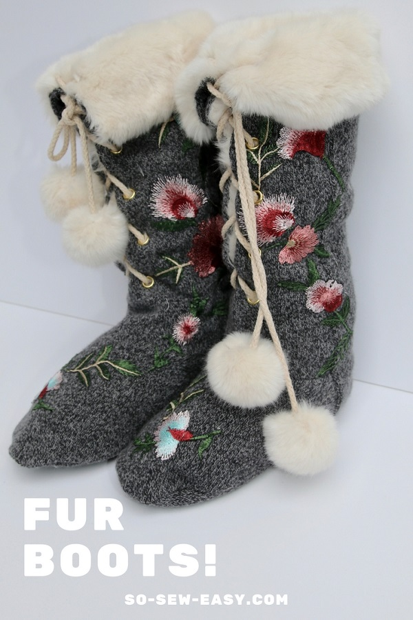 Tutorial and pattern: Fur lined slipper boots