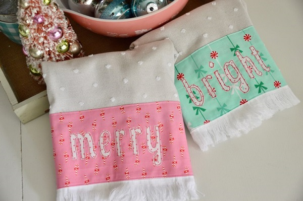 Tutorial and pattern: Merry and Bright Christmas towels