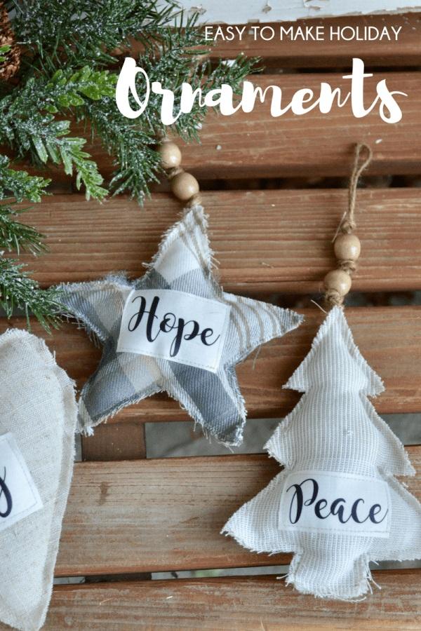 Tutorial: Farmhouse style fabric Christmas ornaments
