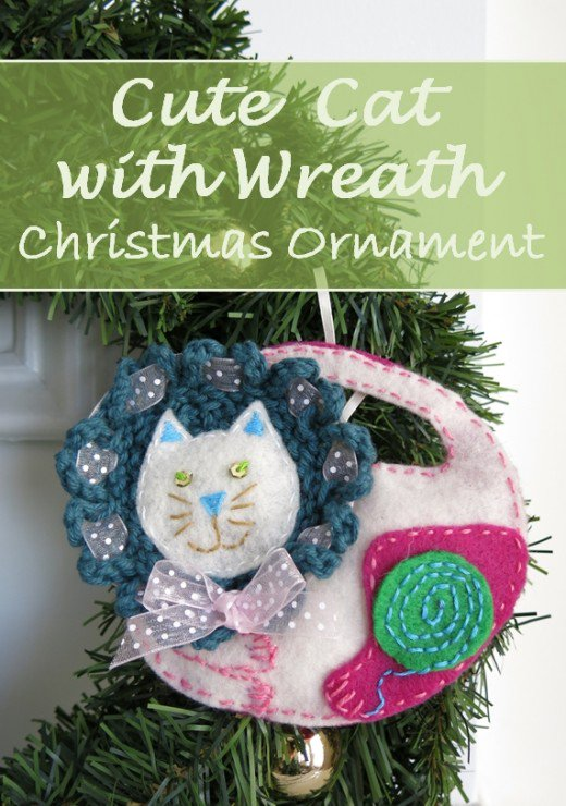 Tutorial and pattern: Felt cat Christmas ornament