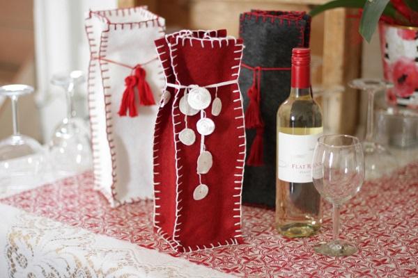 Tutorial: Quick felt wine bottle gift bag