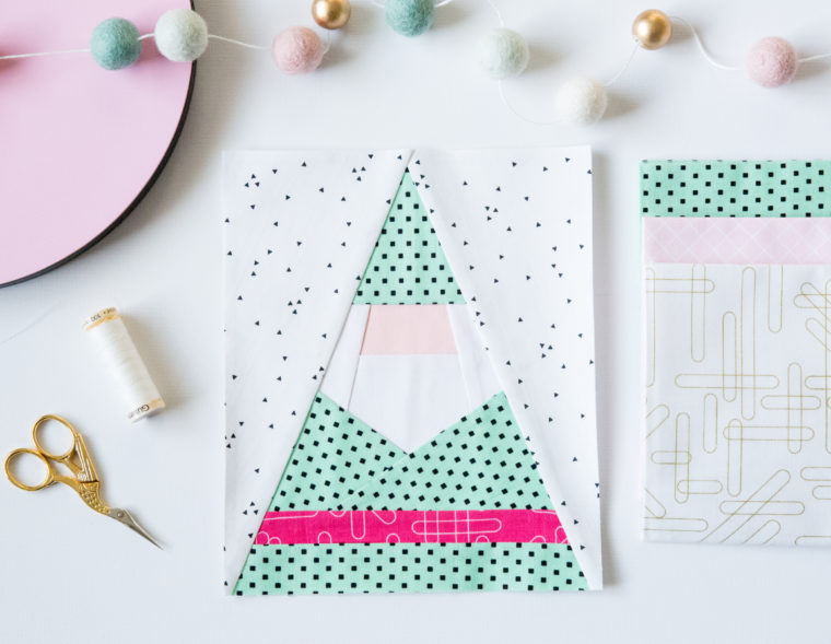 Tutorial and pattern: Paper pieced Santa gnome and Christmas tree blocks