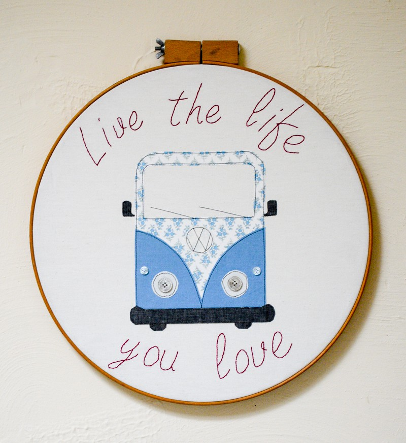 Tutorial and pattern: Camper van hoop art