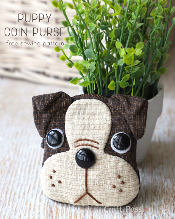 Tutorial and pattern: Boston Terrier puppy coin purse