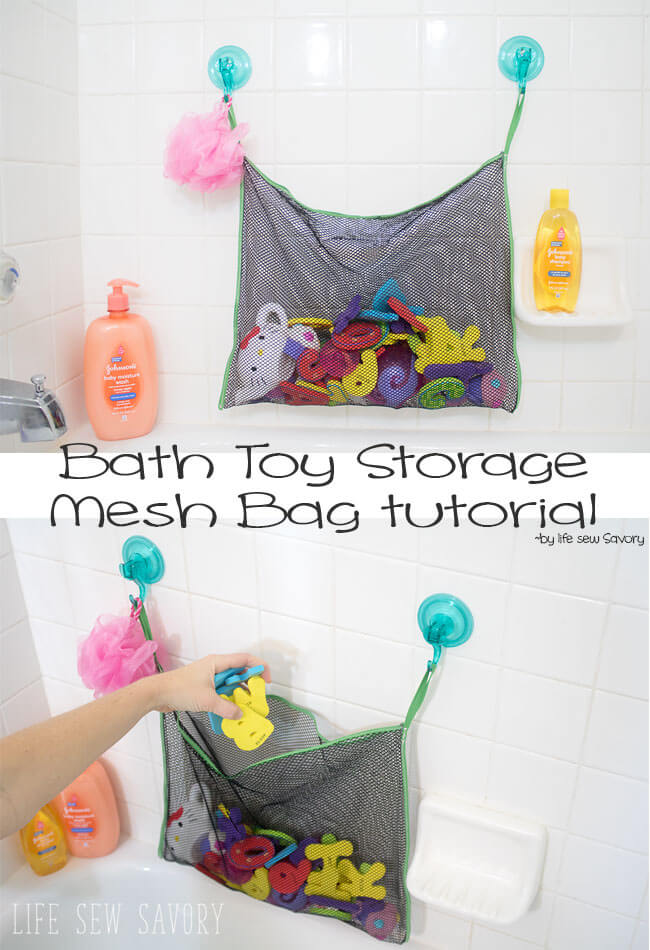 Tutorial: Mesh bath toy hanging storage bag – Sewing