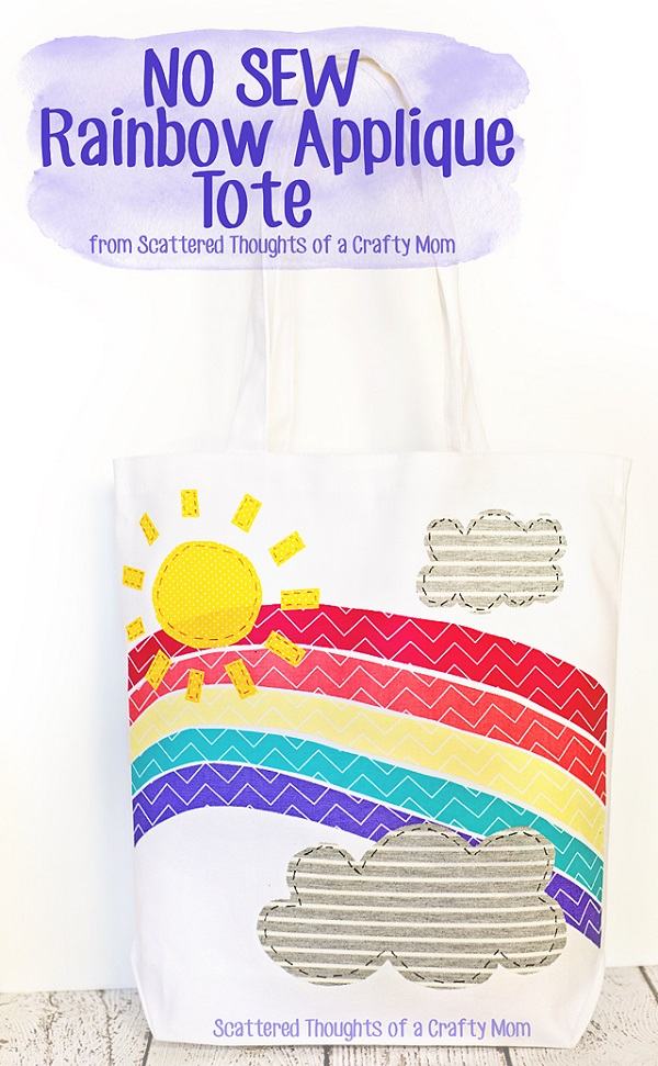 Tutorial and pattern: No-sew rainbow applique tote bag