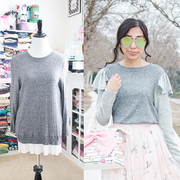 Tutorial: Easy ruffle shoulder sweater