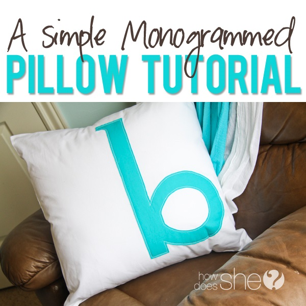 Tutorial: Monogram throw pillow cover