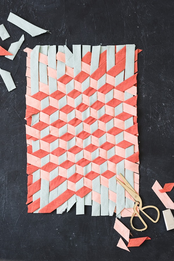 Tutorial: Woven bias tape tumbling block design