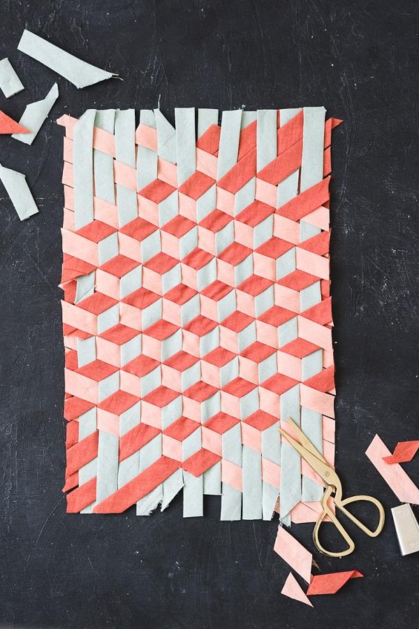 Tutorial: Woven bias tape tumbling block design