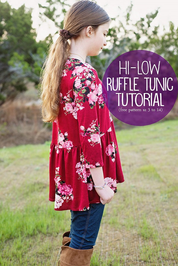 Tutorial and pattern: Girls high low ruffle tunic top
