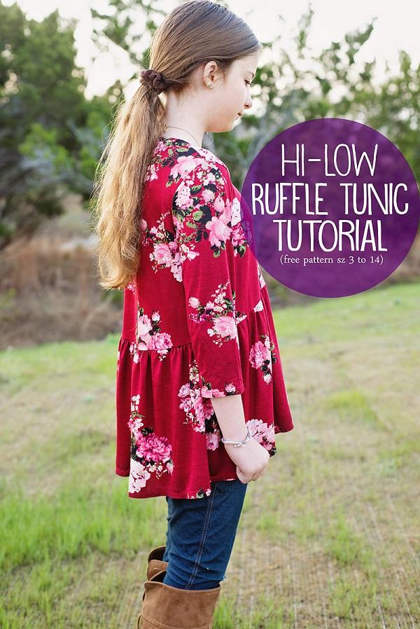 Tutorial and pattern: Girls high low ruffle tunic top