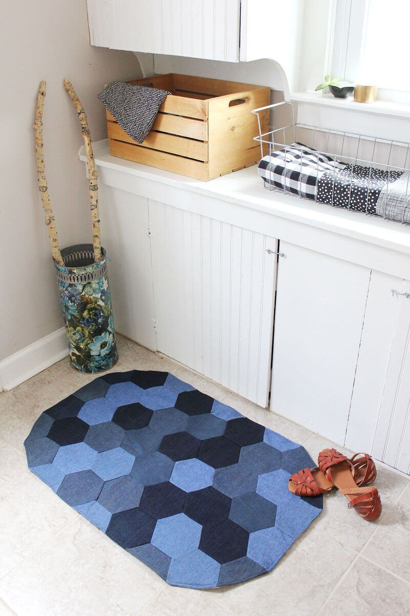 Tutorial: Recycled denim hexie rug