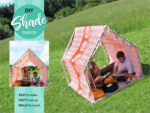 Fabric and PVC pipe playhouse