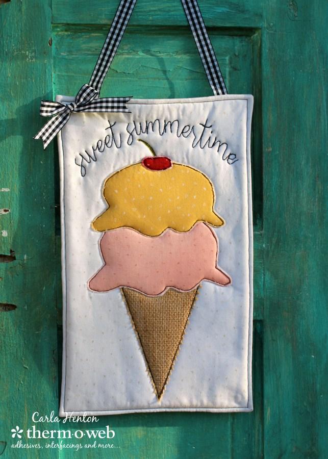 Sewing tutorial: Summertime ice cream door hanger, with free pattern