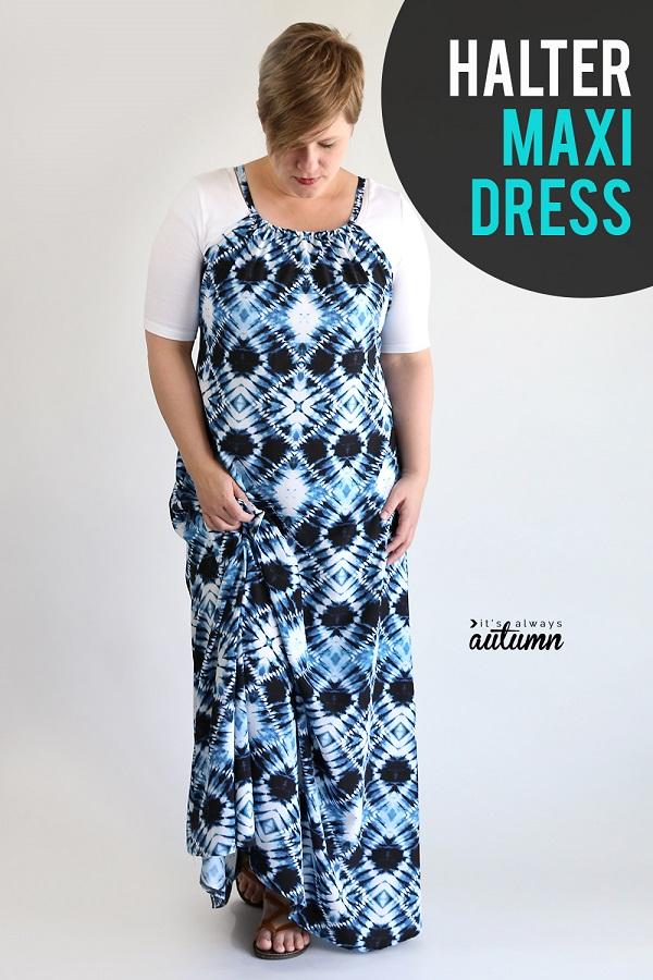 Sewing tutorial: Halter maxi dress