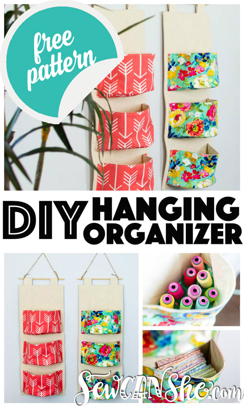 Sewing tutorial: Hanging pocket organizer, with free pattern