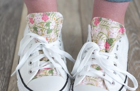 Sewing tutorial: Adding fabric accents to Converse sneakers
