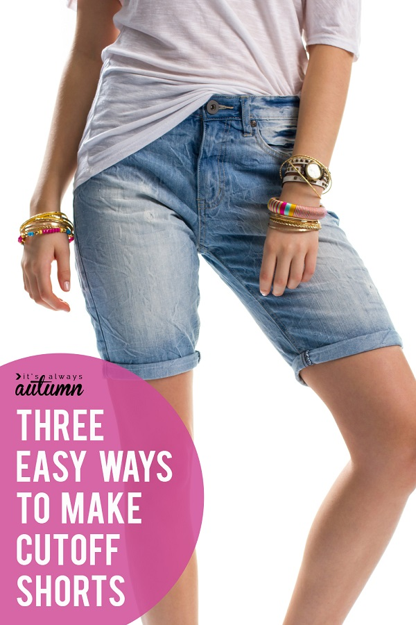 Sewing tutorial: 20 minute cut off jeans with 3 hem options