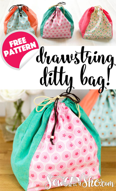 Sewing tutorial: Color block drawstring bags