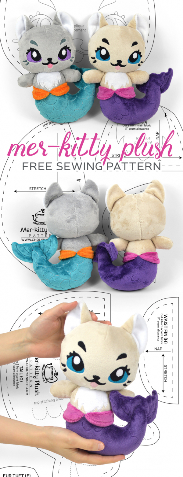 Sewing tutorial: Mer-kitty softie, with free pattern