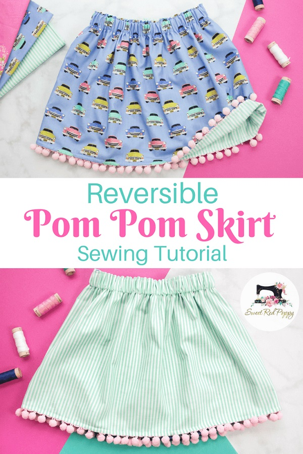 Sewing tutorial: Little girls' reversible pom pom skirt