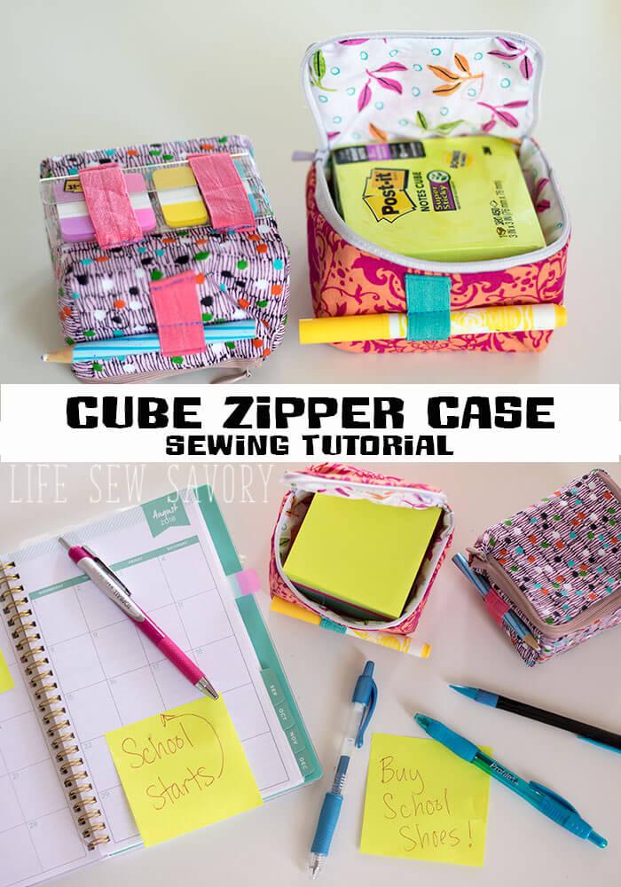 Sewing tutorial: Cube zipper pouch