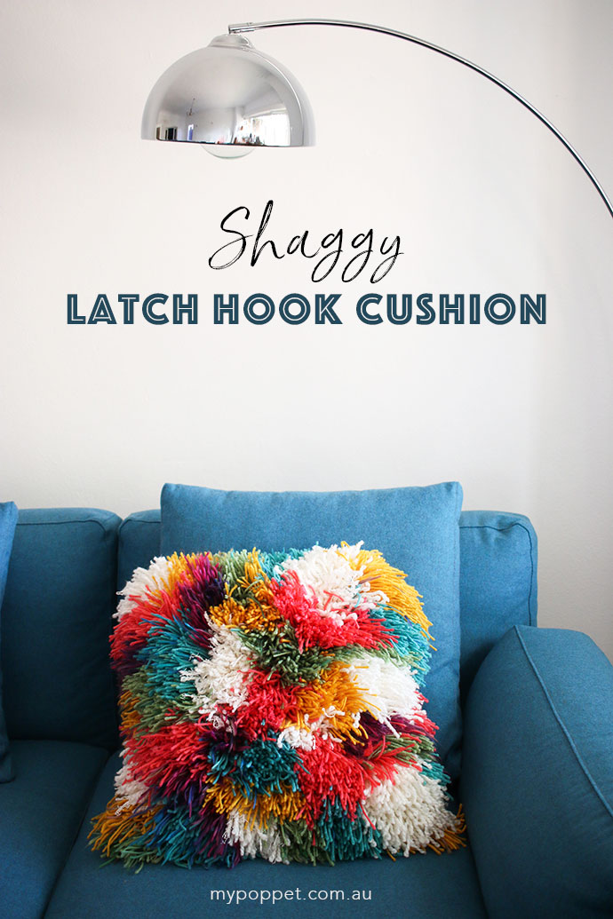 Sewing tutorial: Shaggy latch hook yarn pillow cover
