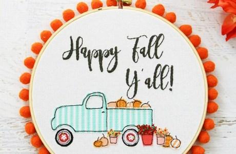 Free pattern: Pumpkin truck fall embroidery hoop art