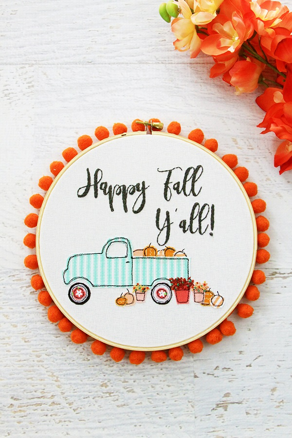 Free pattern: Pumpkin truck fall embroidery hoop art
