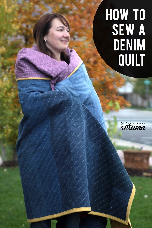 Sewing tutorial: Recycled jeans denim quilt
