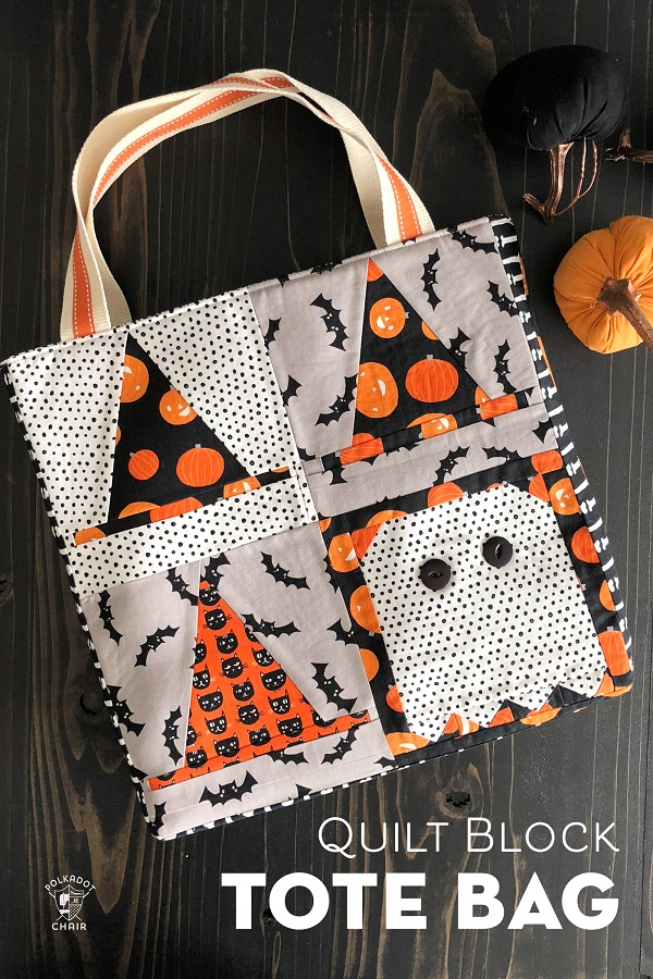 Sewing tutorial: Quilt block Trick or Treat tote