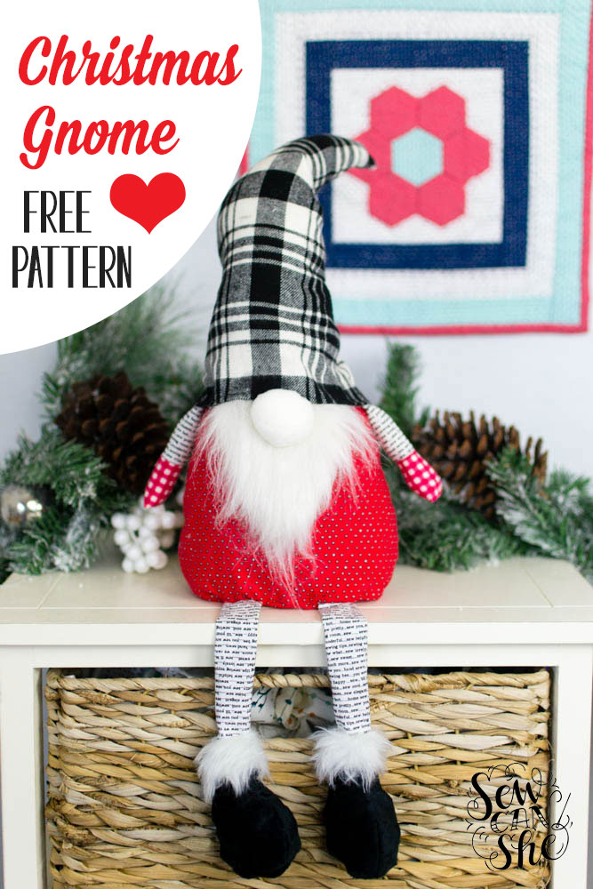 Free sewing pattern: Christmas gnome softie