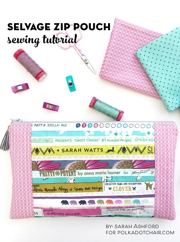 Sewing tutorial: Pieced selvage zip pouch