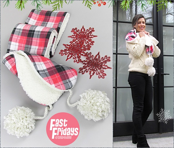 Sewing tutorial: Flannel and Sherpa scarf with oversized pom poms