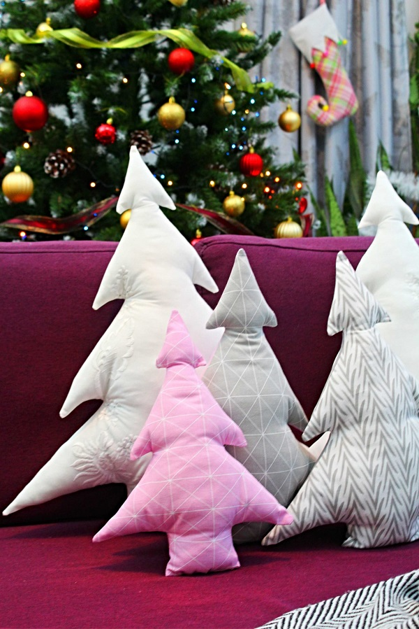 Sewing tutorial: Christmas tree throw pillows