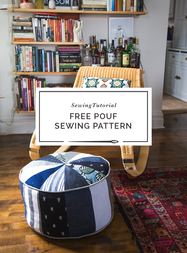 Sewing tutorial: Scrapbusting DIY pouf ottoman