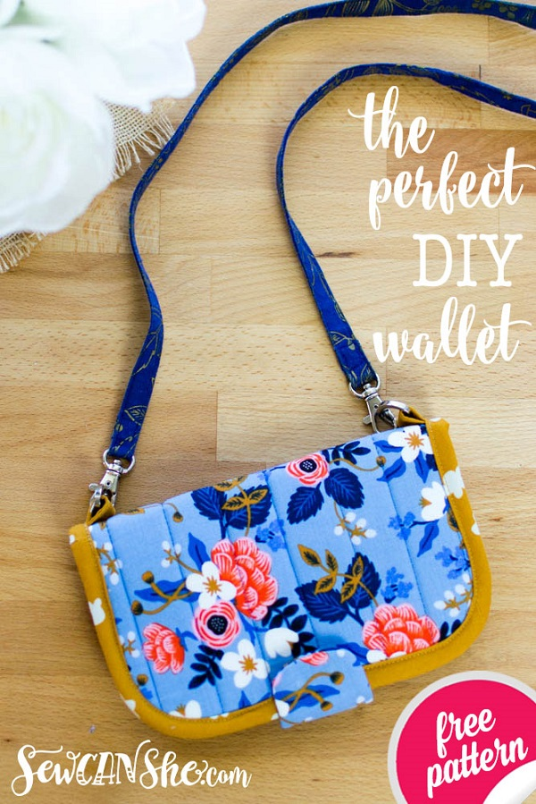 Sewing tutorial: Quilted fabric wallet with lots of pockets