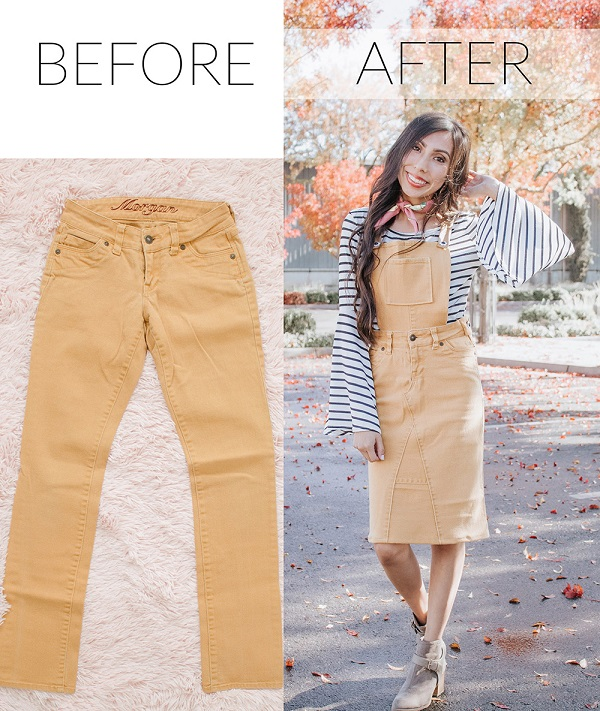 Sewing tutorial: Skirt overalls made from old pants