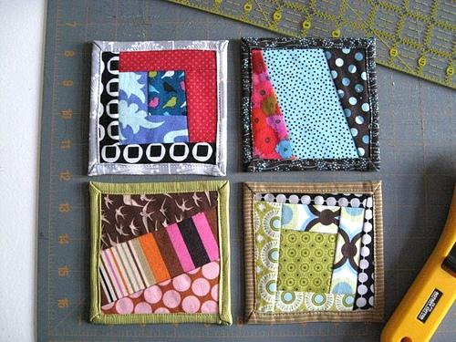 Sewing tutorial: Scrapbusting fabric coasters
