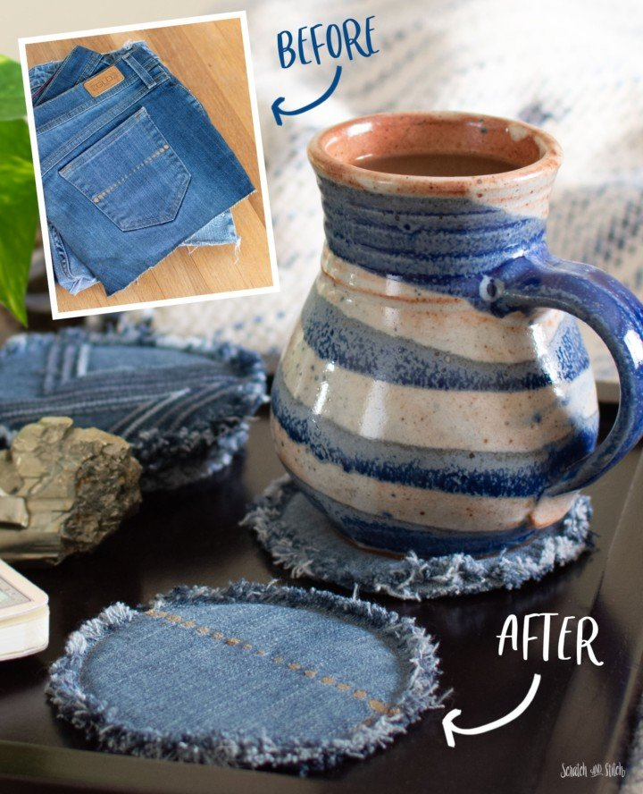 Sewing tutorial: Upcycled jeans coasters