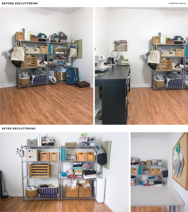 Declutter and reorganize your sewing space